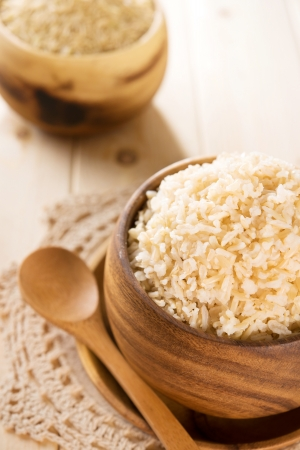 India cooked organic basmati brown rice in wooden bowl.
