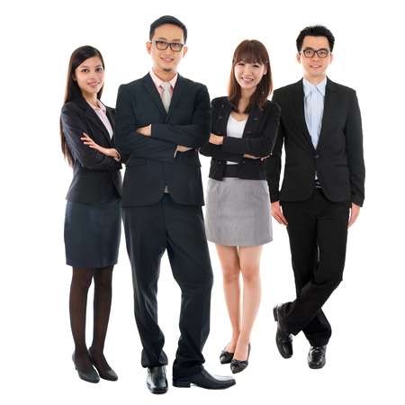 Foto de Portraits of Asian Multi Ethnic Cheerful Business People Standing Isolated on White Background. - Imagen libre de derechos