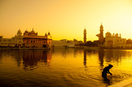 Photo for Sunset at Golden Temple in Amritsar, Punjab, India. - Royalty Free Image