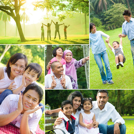 Foto de Collage photo of mixed race family having fun at outdoor park. All photos belong to me. - Imagen libre de derechos