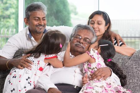 Photo pour Portrait of multi generations Indian family at home. Asian people living lifestyle. - image libre de droit