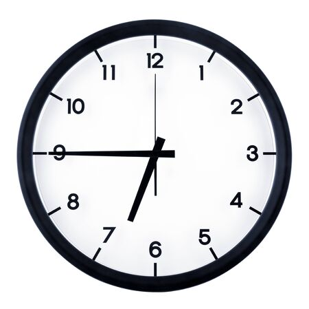Photo for Classic analog clock pointing at six forty five o'clock, isolated on white background. - Royalty Free Image