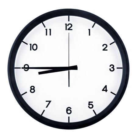 Photo for Classic analog clock pointing at eight forty five o'clock, isolated on white background. - Royalty Free Image