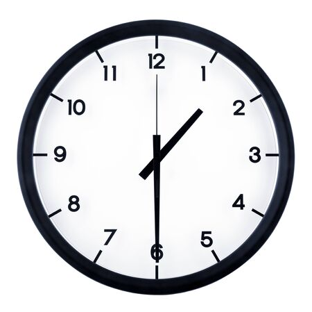 Photo for Classic analog clock pointing at 8 o'clock, isolated on white background - Royalty Free Image