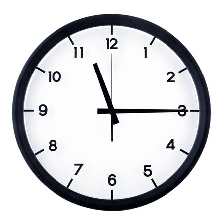 Photo for Classic analog clock pointing at eleven fifteen o'clock, isolated on white background - Royalty Free Image