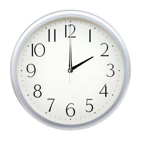 Foto de Analog wall clock isolated on white background. - Imagen libre de derechos