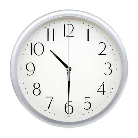 Foto de Analog wall clock isolated on white background. - Imagen libre de derechos
