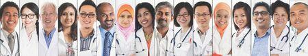 Photo pour Different faces of medical people, doctor and nurse. - image libre de droit