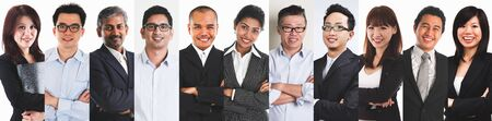 Photo pour Collage portraits of diverse Asian people and mixed age group of focused business professionals. - image libre de droit