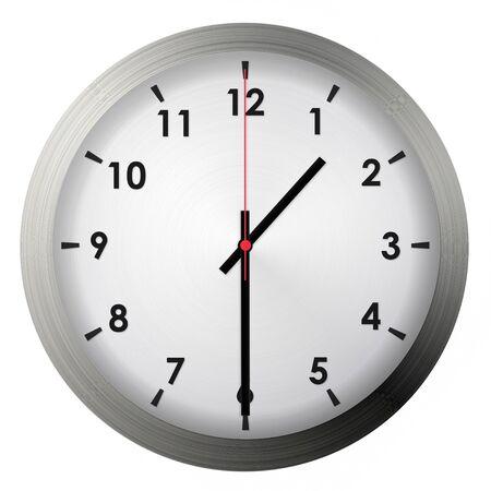 Foto de Analog metal wall clock isolated on white background. - Imagen libre de derechos