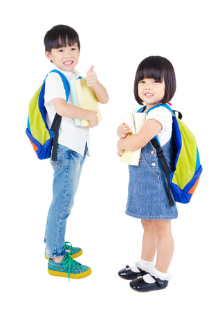 Portrait of two beautiful asian kindergarten students
