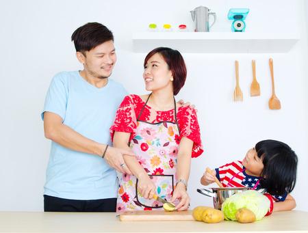 Asian family kitchen lifestlye.