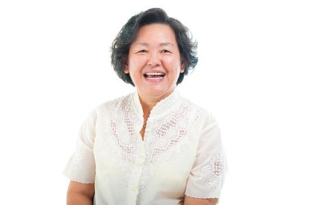 Portrait of a cheerful asian senior woman