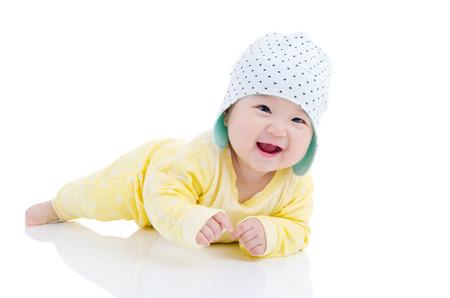 Photo pour Indoor portrait of a beautiful asian baby - image libre de droit