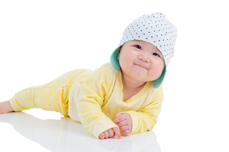 Photo for Indoor portrait of beautiful asian baby girl - Royalty Free Image