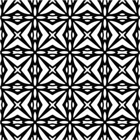 Illustration for Geometric vector pattern with Black and white colors. Seamless abstract ornament for wallpapers and backgrounds. - Royalty Free Image