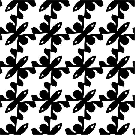 Illustration for vector seamless pattern with triangular elements. abstract ornament for wallpapers and backgrounds. Black and white colors. - Royalty Free Image