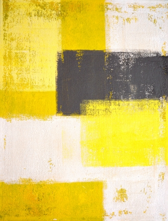 Grey and Yellow Abstract Art Painting