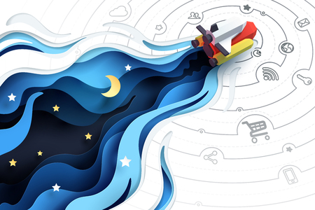 Illustration pour Paper art of spaceship fly to explore, social media marketing concept and start up business idea, vector art and illustration. - image libre de droit