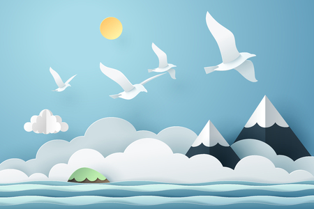 Paper art seagull fly above the sea, travel and freedom concept, vector art and illustration.