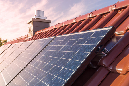 Photo for Solar panels or photovoltaic power plant on the roof of a house - Royalty Free Image