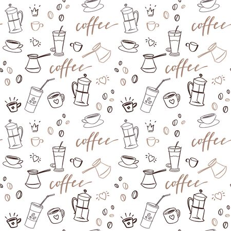 Illustration pour Background with beverages dishes line art and calligraphy on white background. - image libre de droit