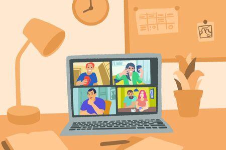Illustration pour Video chat online. Internet communication during quarantine. - image libre de droit