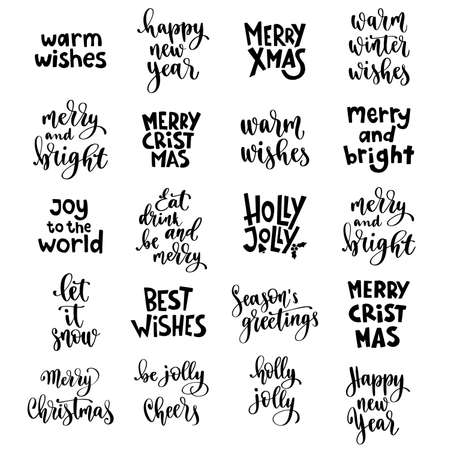 Illustration pour Christmas and Happy New Year quotes, holidays winter lettering set. - image libre de droit