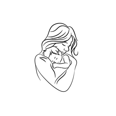 Illustration for mothers love. moms and baby  designs icon - Royalty Free Image