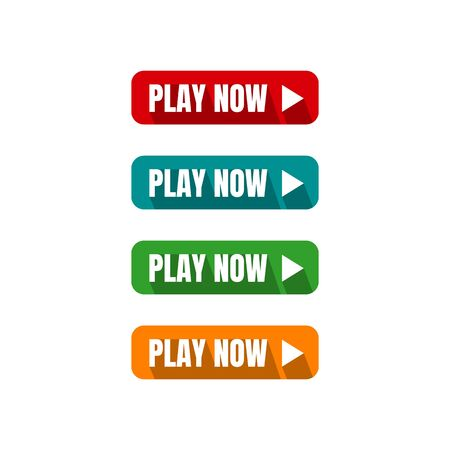 Illustration pour play now button four colored editable call to action buttons vector illustrations - image libre de droit