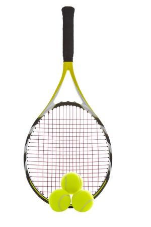 Modern tennis racket with three brand new balls