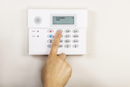 Hand setting the away code on home alarm security panel