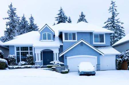 Home during winter snow season