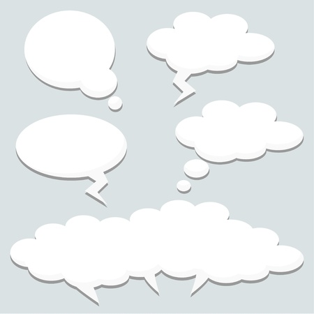 Speech thought bubbles, clouds, illustration