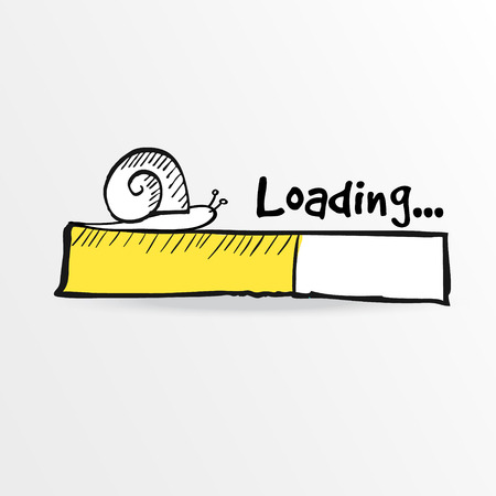 Illustration for Loading bar with a doodle snail, vector illustration, hand drawn sketch - Royalty Free Image