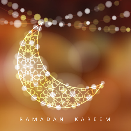 Illustration pour Ornamental moon with bokeh lights vector illustration background card invitation for the Muslim holy month of Ramadan community Kareem - image libre de droit