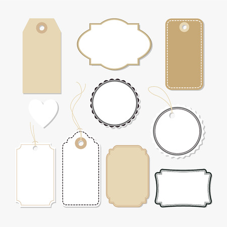 Ilustración de Set of various blank paper tags, labels, isolated vector elements, flat design - Imagen libre de derechos