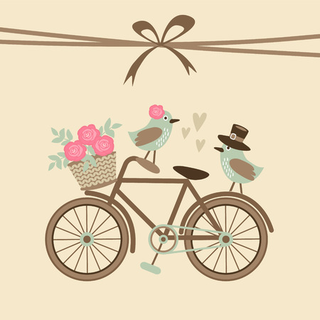Foto de Cute retro wedding or birthday card, invitation with bicycle and birds, vector illustration background - Imagen libre de derechos