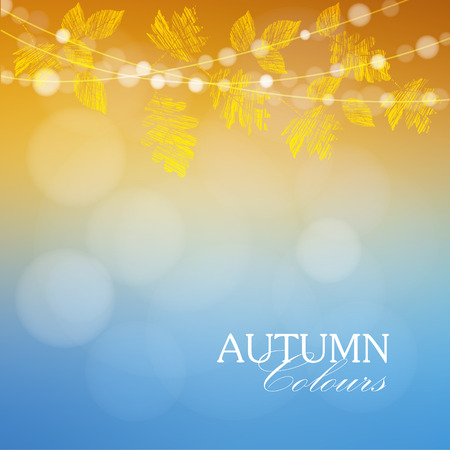 Autumn, fall background with maple and oak leaves and lights, vector illustration