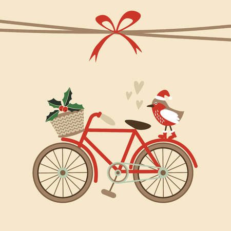 Photo pour Cute retro christmas card, invitation with hand drawn bicycle and bird with santa hat, flat design, vector illustration background - image libre de droit