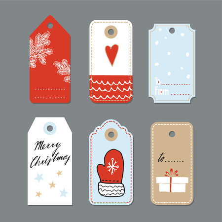 Set of cute christmas gift tags, labels, hand drawn illustrations, flat design, isolated vector objects