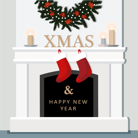 Christmas fireplace, festive decorated interior, home, flat design, vector illustration background