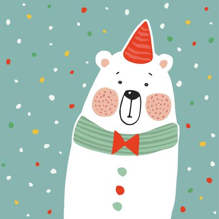 Ilustración de Cute polar bear with party hat and paper. confetti, kids poster or birthday greeting card - Imagen libre de derechos