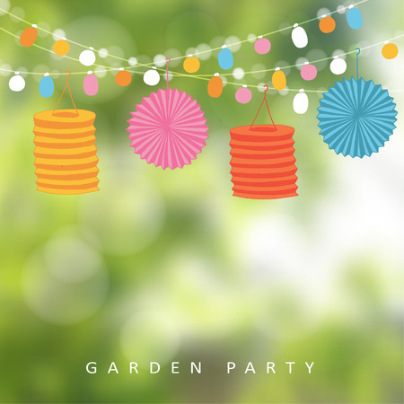 Ilustración de Birthday garden party or Brazilian june party, illustration with string of lights, paper lanterns and blurred background - Imagen libre de derechos