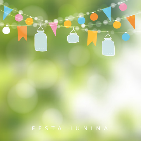 Ilustración de Brazilian june party,  festa junina. String of lights, jar lanterns. Party decoration. Birthday garden party. Blurred background, banner. - Imagen libre de derechos