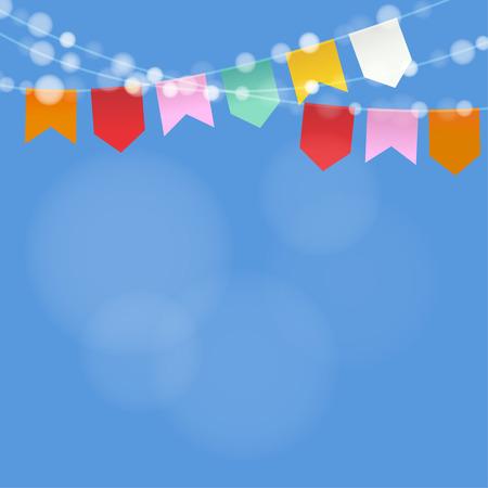 Illustration pour Brazilian june party. Festa junina. String of lights, party flags.  Summer party decoration. Festive blurred background. - image libre de droit