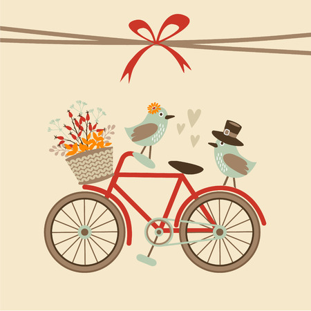Photo pour Cute retro wedding, birthday, baby shower card, invitation . Bicycle and birds. Autumn, fall vector illustration background - image libre de droit