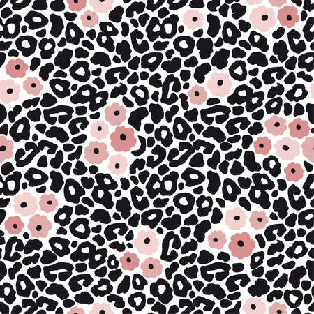 Illustration pour Modern black and white leopard seamless pattern with pink flowers. Animal skin and floral design, vector illustration background. - image libre de droit