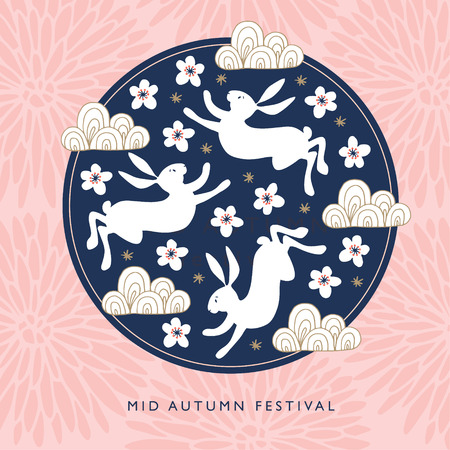Illustration pour Mid autumn festival greeting card, invitation with jade rabbits, moon silhouette, pink chrysanthemum flowers, cherry blossoms and chinese clouds.Asian design, vector illustration background. - image libre de droit