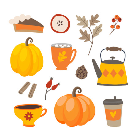 Illustration pour Set of cute cartoon Thanksgiving day icons with pumpkins, pie, coffee, cinnamon spice and oak leaves. Fall season designs, autumn sticker collection. Isolated vector scrapbooking illustrations. - image libre de droit